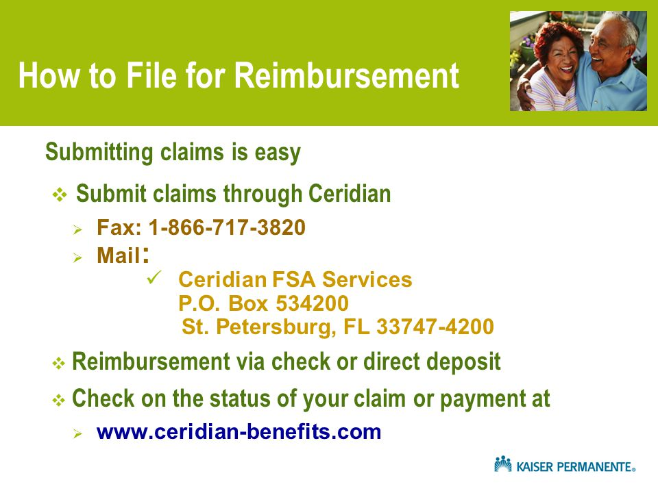 How to File for Reimbursement  Submit claims through Ceridian  Fax: 1-866-717-3820  Mail : Ceridian FSA Services P.O.