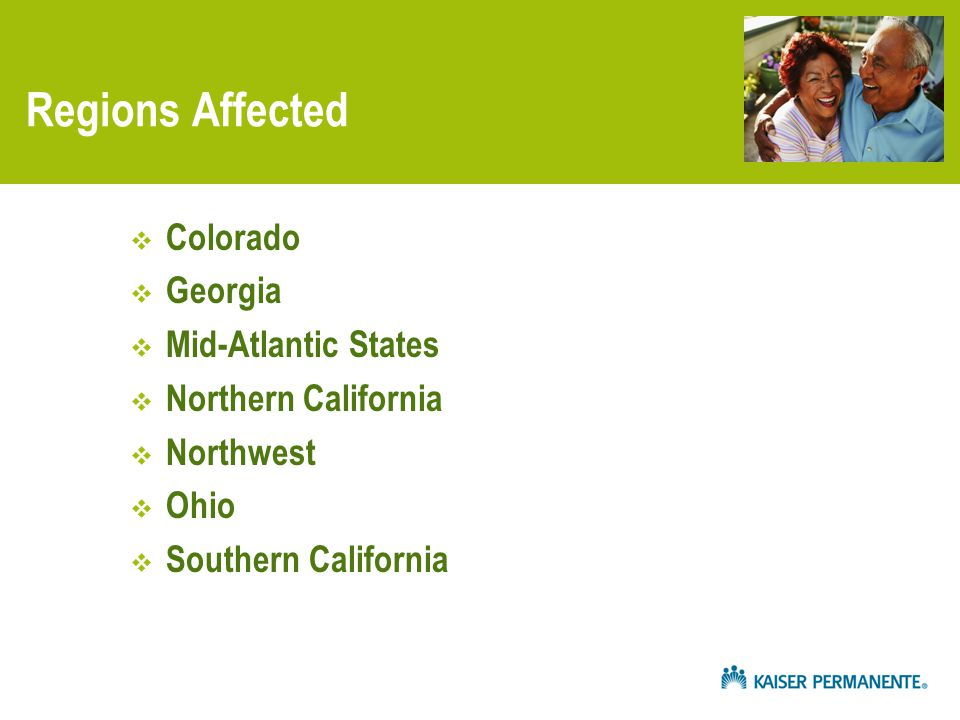 Regions Affected  Colorado  Georgia  Mid-Atlantic States  Northern California  Northwest  Ohio  Southern California