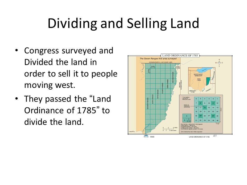 Dividing and Selling Land Congress surveyed and Divided the land in order to sell it to people moving west.