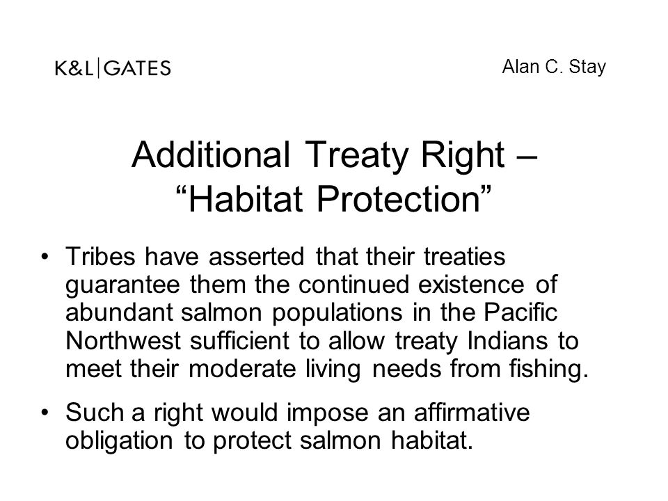 """Additional Treaty Right – """"Habitat Protection"""" Tribes have asserted that their treaties guarantee them the continued existence of abundant salmon popu"""