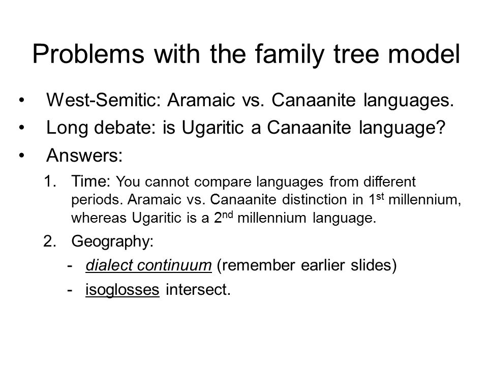 Problems with the family tree model West-Semitic: Aramaic vs.