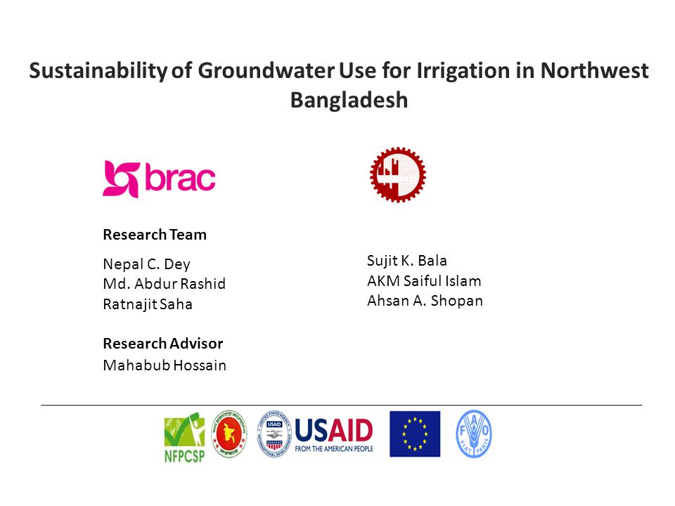 Sustainability of Groundwater Use for Irrigation in Northwest Bangladesh Research Team Nepal C.