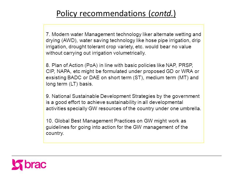 Policy recommendations (contd.) 7.