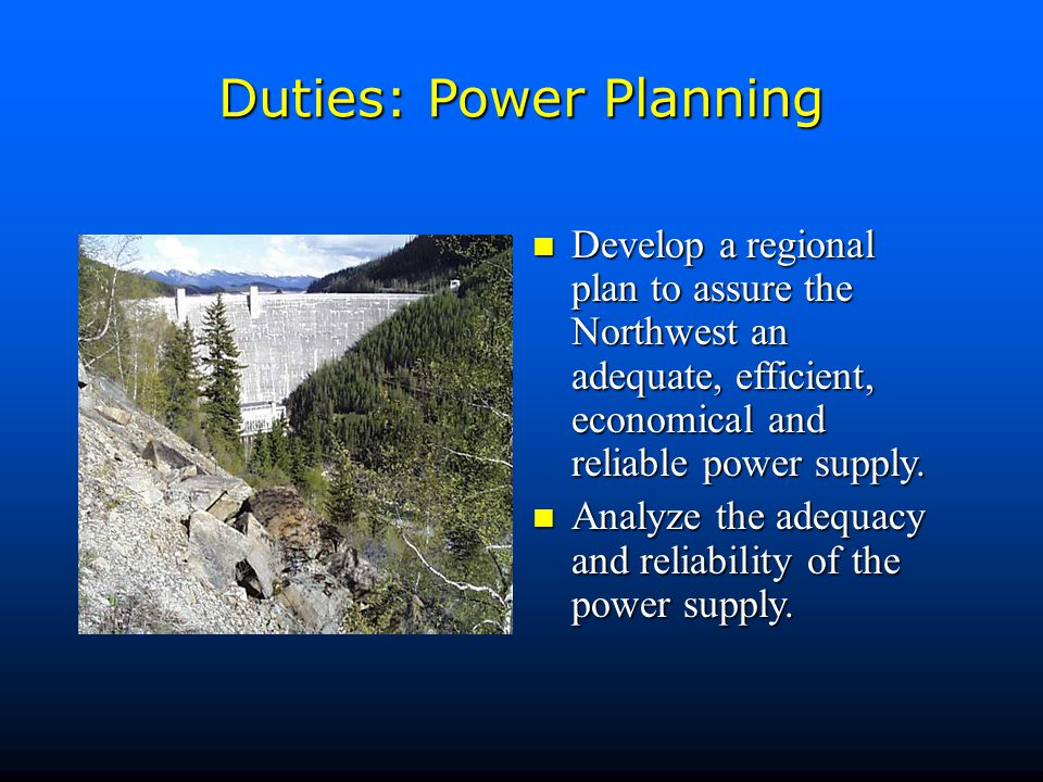 Duties: Public Involvement Provide for broad public participation in developing the power plan and fish and wildlife program, and inform the public about regional energy issues.