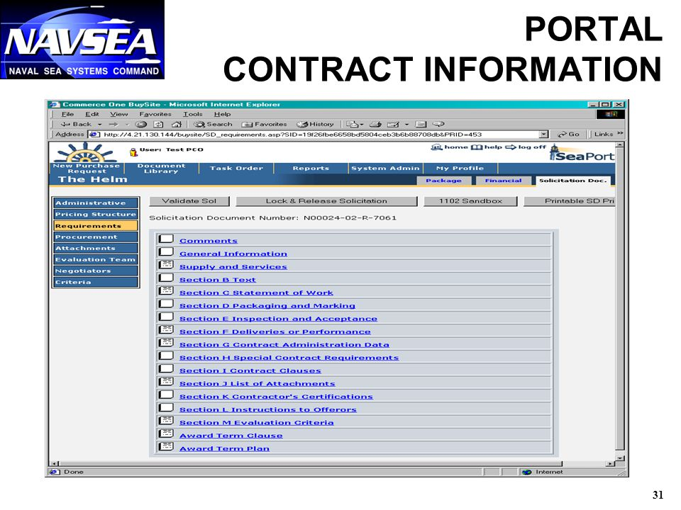 31 PORTAL CONTRACT INFORMATION