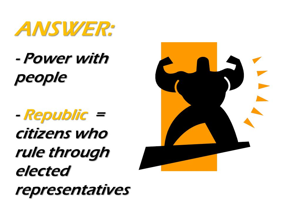 - Power with people - Republic = citizens who rule through elected representatives ANSWER: