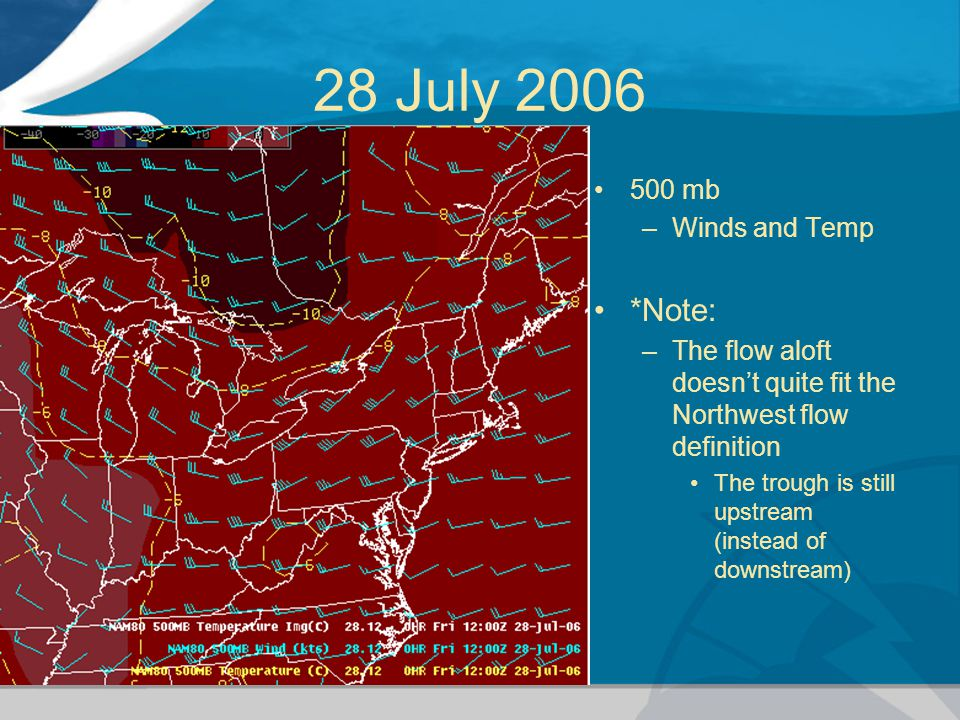 28 July 2006 500 mb –Winds and Temp *Note: –The flow aloft doesn't quite fit the Northwest flow definition The trough is still upstream (instead of do