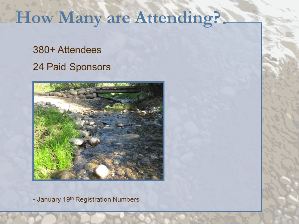380+ Attendees 24 Paid Sponsors How Many are Attending? - January 19 th Registration Numbers
