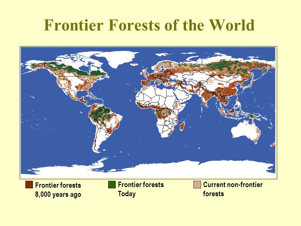 Frontier Forests of the World Frontier forests 8,000 years ago Frontier forests Today Current non-frontier forests
