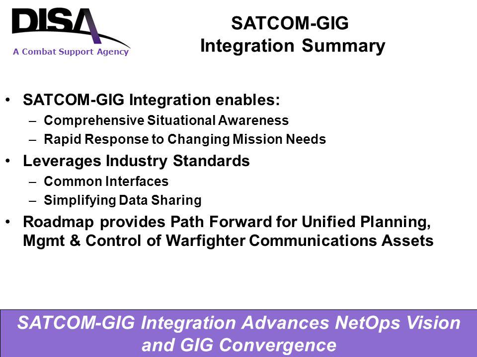 A Combat Support Agency 5/4/2015 16 SATCOM-GIG Integration Summary SATCOM-GIG Integration enables: –Comprehensive Situational Awareness –Rapid Respons