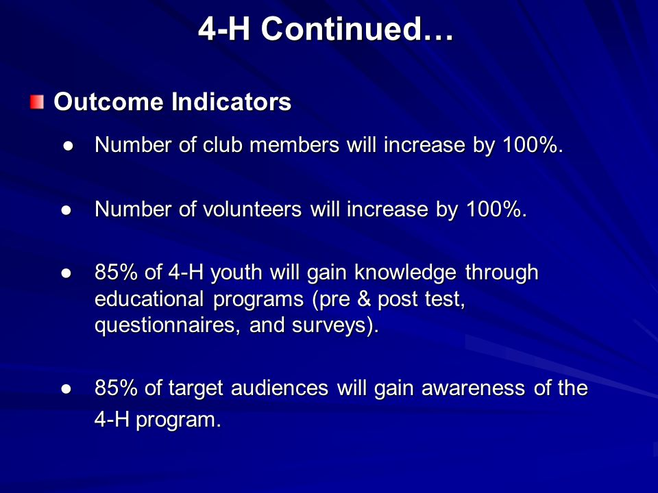 4-H Continued… Outcome Indicators ●Number of club members will increase by 100%.