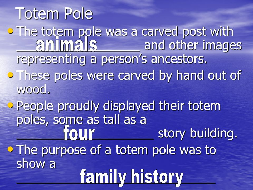 Totem Pole The totem pole was a carved post with __________________ and other images representing a person's ancestors.
