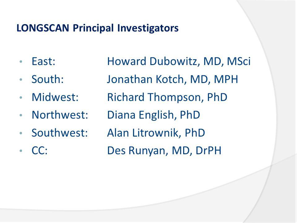 LONGSCAN Principal Investigators East: Howard Dubowitz, MD, MSci South: Jonathan Kotch, MD, MPH Midwest: Richard Thompson, PhD Northwest: Diana English, PhD Southwest: Alan Litrownik, PhD CC: Des Runyan, MD, DrPH