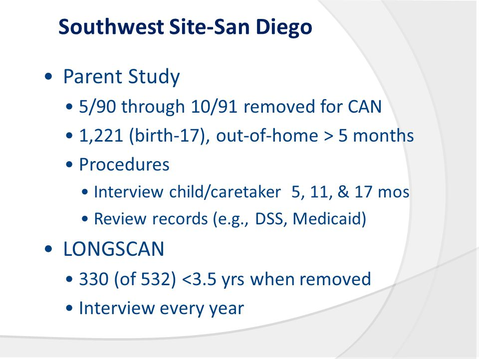 Southwest Site-San Diego Parent Study 5/90 through 10/91 removed for CAN 1,221 (birth-17), out-of-home > 5 months Procedures Interview child/caretaker 5, 11, & 17 mos Review records (e.g., DSS, Medicaid) LONGSCAN 330 (of 532) <3.5 yrs when removed Interview every year