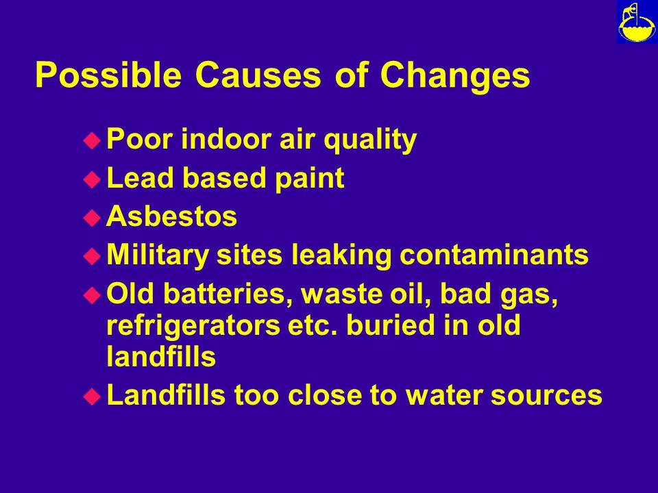 Possible Causes of Changes u Poor indoor air quality u Lead based paint u Asbestos u Military sites leaking contaminants u Old batteries, waste oil, bad gas, refrigerators etc.