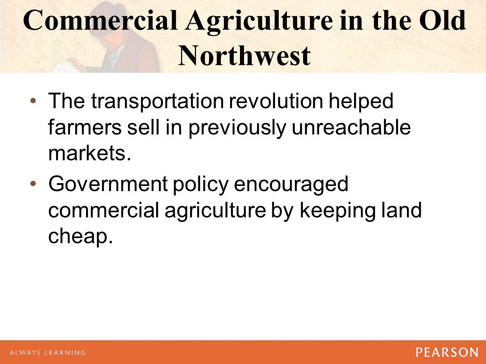 Commercial Agriculture in the Old Northwest The transportation revolution helped farmers sell in previously unreachable markets.