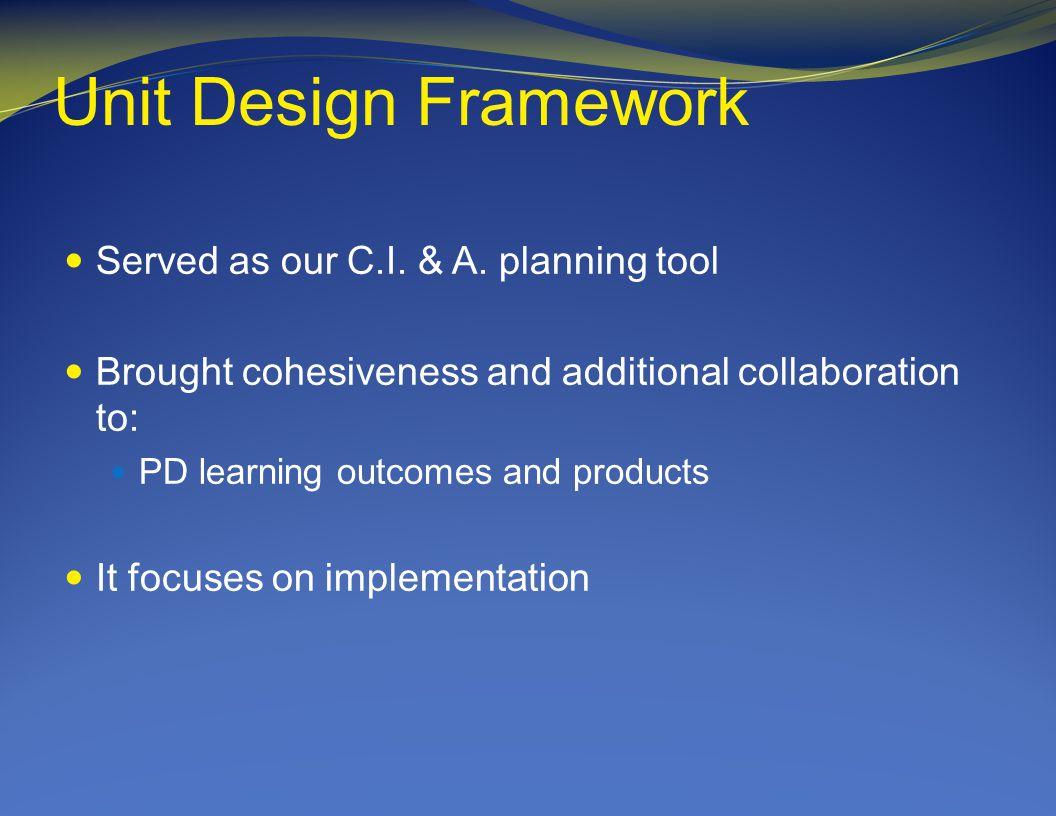 Unit Design Framework Served as our C.I. & A.