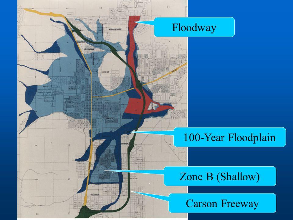 Floodway 100-Year Floodplain Zone B (Shallow) Carson Freeway