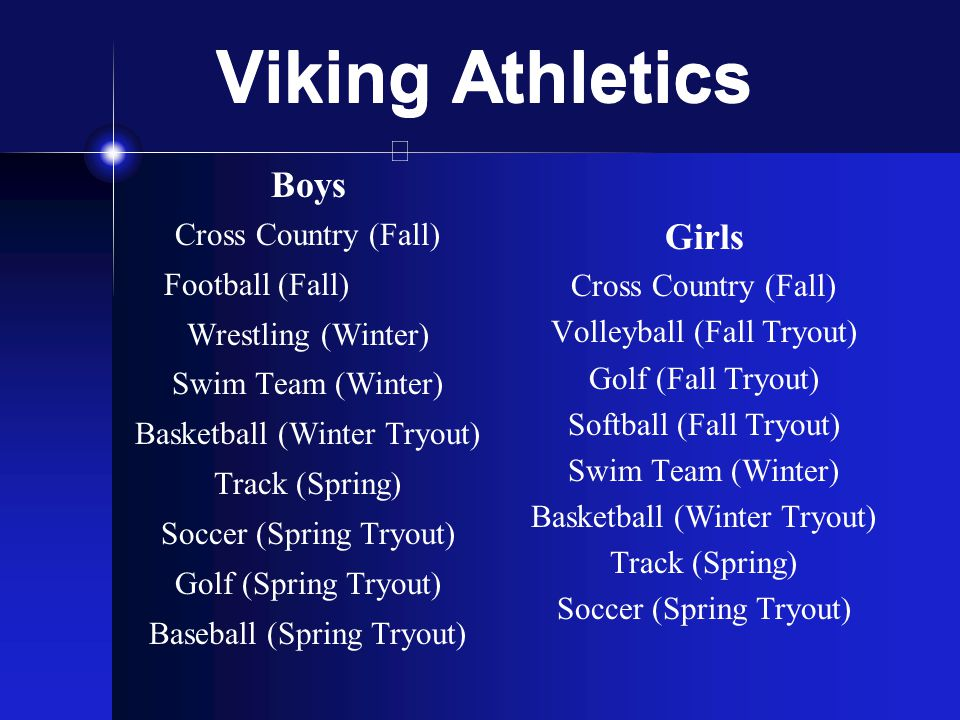 Viking Athletics Boys Cross Country (Fall) Football (Fall) Wrestling (Winter) Swim Team (Winter) Basketball (Winter Tryout) Track (Spring) Soccer (Spr