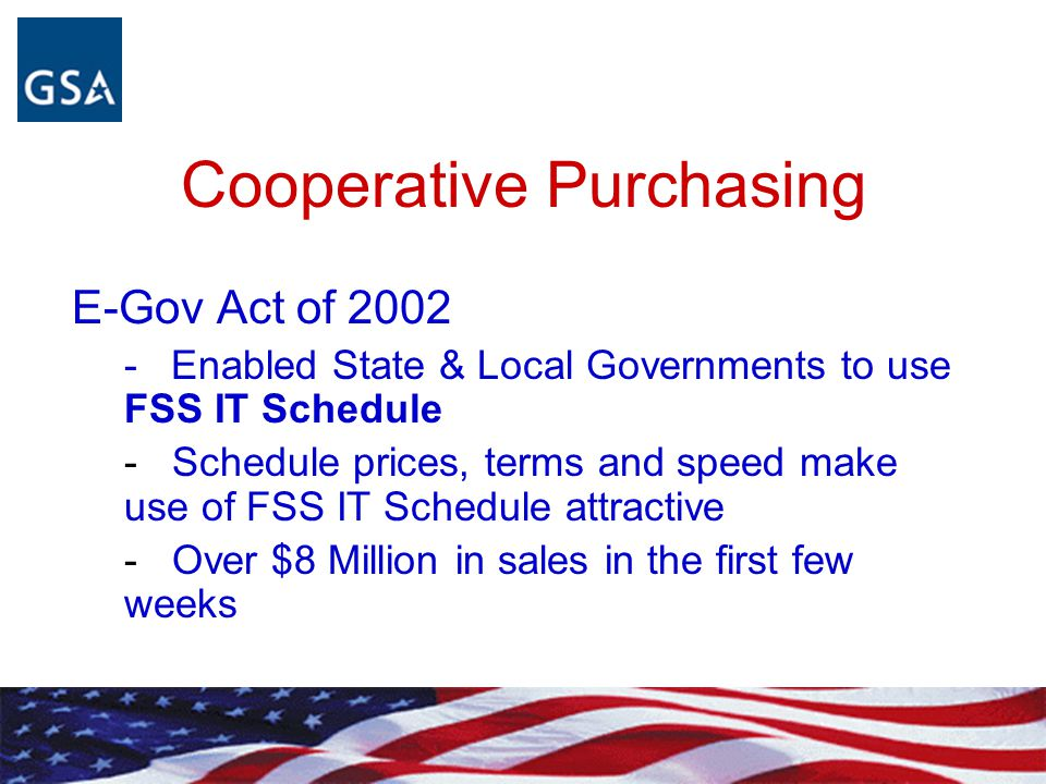 Cooperative Purchasing E-Gov Act of 2002 - Enabled State & Local Governments to use FSS IT Schedule - Schedule prices, terms and speed make use of FSS