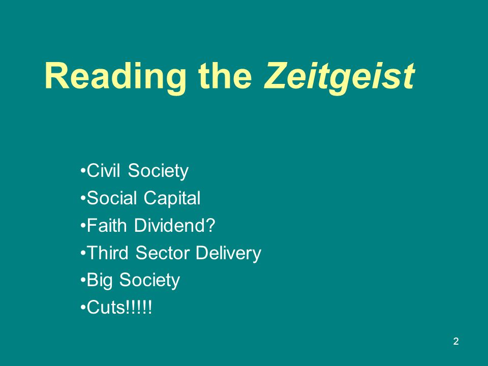 Reading the Zeitgeist Civil Society Social Capital Faith Dividend.