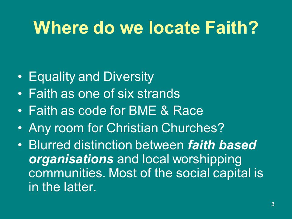 Where do we locate Faith.