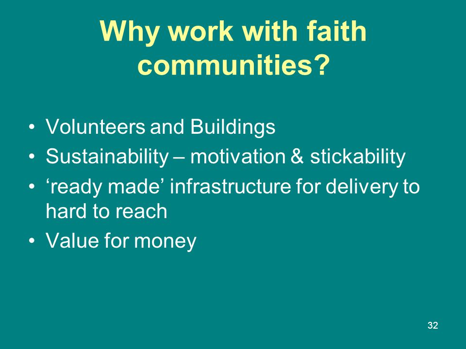 Why work with faith communities.