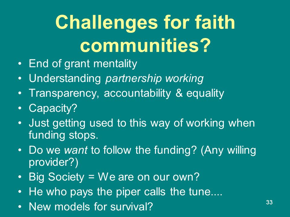 Challenges for faith communities.