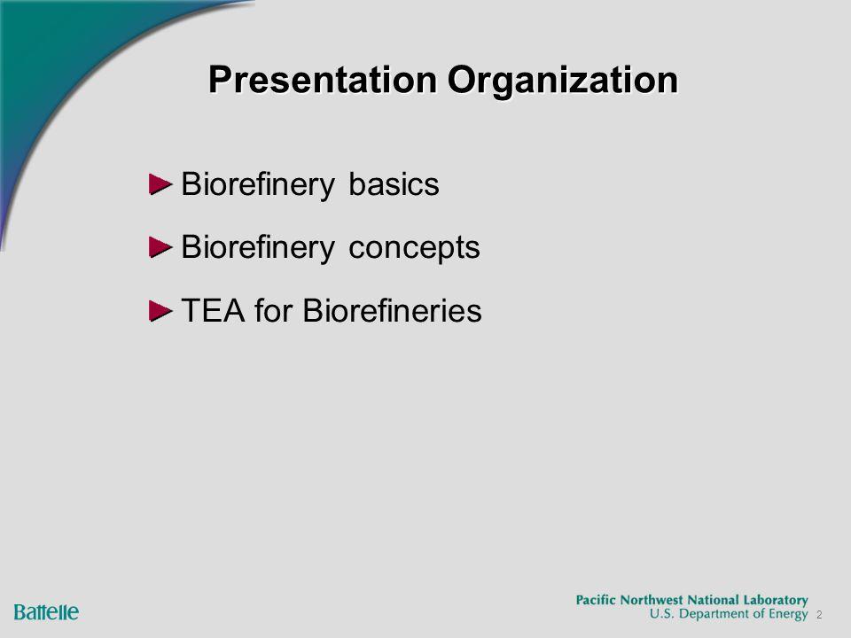 2 Presentation Organization Biorefinery basics Biorefinery concepts TEA for Biorefineries