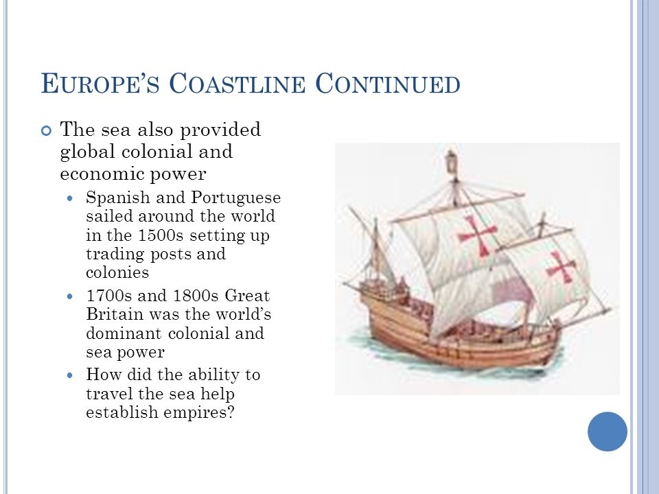 E UROPE ' S C OASTLINE C ONTINUED The sea also provided global colonial and economic power Spanish and Portuguese sailed around the world in the 1500s