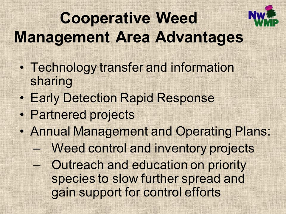 Cooperative Weed Management Area Advantages Technology transfer and information sharing Early Detection Rapid Response Partnered projects Annual Management and Operating Plans: –Weed control and inventory projects –Outreach and education on priority species to slow further spread and gain support for control efforts