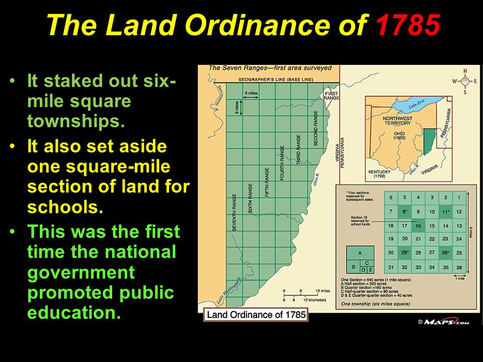 The Land Ordinance of 1785 It staked out six- mile square townships.