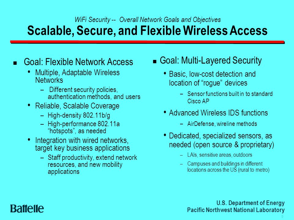U.S. Department of Energy Pacific Northwest National Laboratory 9 WiFi Security -- Overall Network Goals and Objectives Scalable, Secure, and Flexible