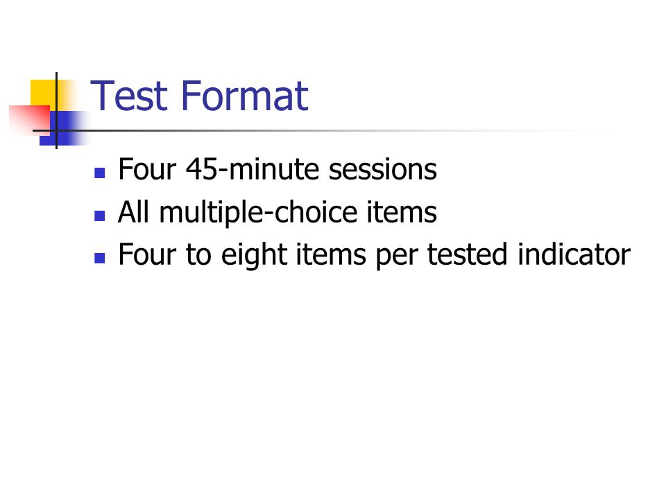Test Format Four 45-minute sessions All multiple-choice items Four to eight items per tested indicator
