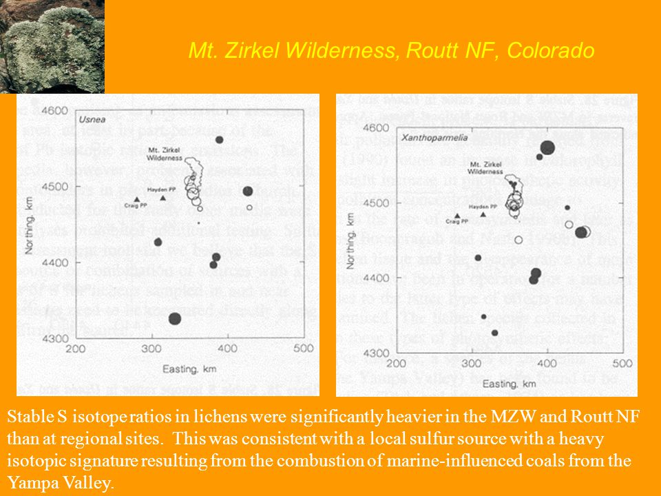 Mt. Zirkel Wilderness, Routt NF, Colorado Stable S isotope ratios in lichens were significantly heavier in the MZW and Routt NF than at regional sites