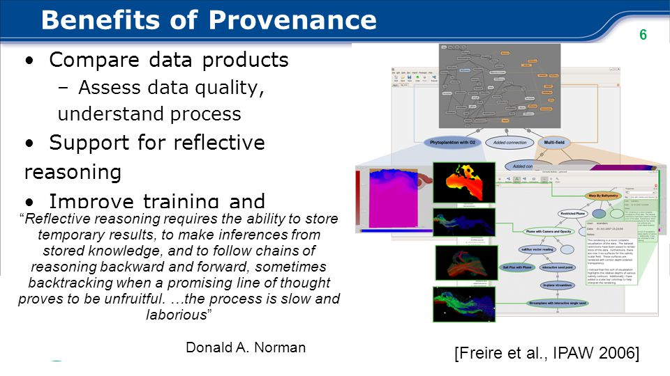 6 Benefits of Provenance Compare data products –Assess data quality, understand process Support for reflective reasoning Improve training and teaching [Freire et al., IPAW 2006] Reflective reasoning requires the ability to store temporary results, to make inferences from stored knowledge, and to follow chains of reasoning backward and forward, sometimes backtracking when a promising line of thought proves to be unfruitful.