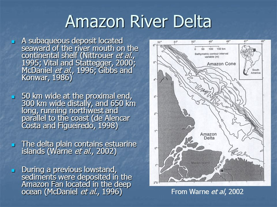 Conclusions The majority of sediment carried by the Amazon River is suspended sediment derived from the Andes Mountains to the west The majority of sediment carried by the Amazon River is suspended sediment derived from the Andes Mountains to the west It is deposited in a subaqueous delta, and northwest along the continental shelf, fining with increasing distance from the river mouth It is deposited in a subaqueous delta, and northwest along the continental shelf, fining with increasing distance from the river mouth The topset and foreset regions of the delta have the highest sedimentation rates, causing the delta to prograde outward and upward The topset and foreset regions of the delta have the highest sedimentation rates, causing the delta to prograde outward and upward The coastline is being eroded near the river mouth, and muddy sediments are deposited updrift along the continental shelf as migrating mud shoals The coastline is being eroded near the river mouth, and muddy sediments are deposited updrift along the continental shelf as migrating mud shoals