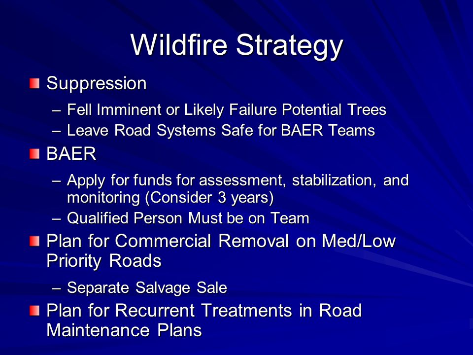 Wildfire Strategy Suppression –Fell Imminent or Likely Failure Potential Trees –Leave Road Systems Safe for BAER Teams BAER –Apply for funds for assessment, stabilization, and monitoring (Consider 3 years) –Qualified Person Must be on Team Plan for Commercial Removal on Med/Low Priority Roads –Separate Salvage Sale Plan for Recurrent Treatments in Road Maintenance Plans