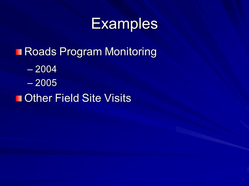 Examples Roads Program Monitoring –2004 –2005 Other Field Site Visits