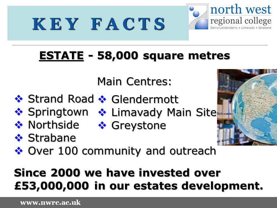 www.nwrc.ac.uk ESTATE - 58,000 square metres Main Centres:  Strand Road  Springtown  Northside  Strabane  Over 100 community and outreach Since 2000 we have invested over £53,000,000 in our estates development.