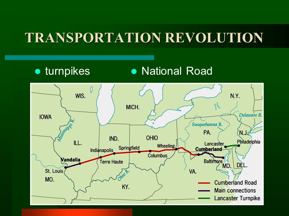 TRANSPORTATION REVOLUTION Steamboats –Robert Fulton –Clermont (1807) Impact on transportation and trade Robert Fulton's Clermont plies the Hudson River