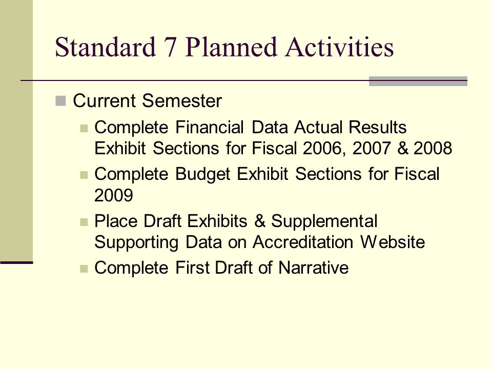 Standard 7 Planned Activities Current Semester Complete Financial Data Actual Results Exhibit Sections for Fiscal 2006, 2007 & 2008 Complete Budget Exhibit Sections for Fiscal 2009 Place Draft Exhibits & Supplemental Supporting Data on Accreditation Website Complete First Draft of Narrative