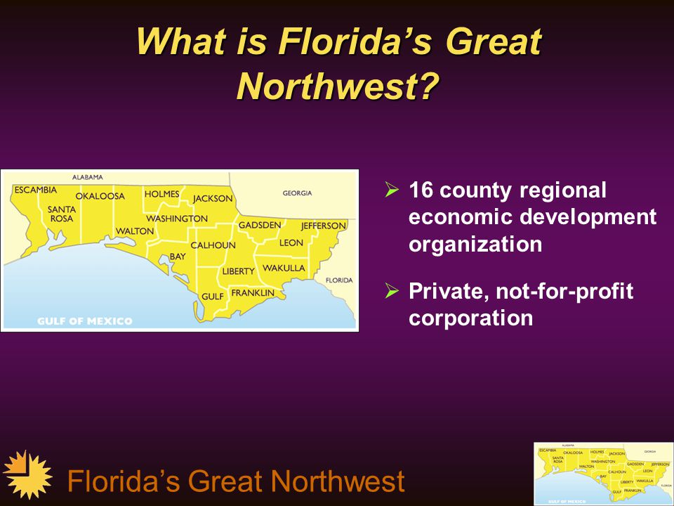 Florida's Great Northwest Converting to a Knowledge-Based Economy – By 2030:  The profile of the primary businesses will be different:  Less dense in employment, more dense in technology, & greater per employee productivity, or  (customer care centers) larger employment concentrations