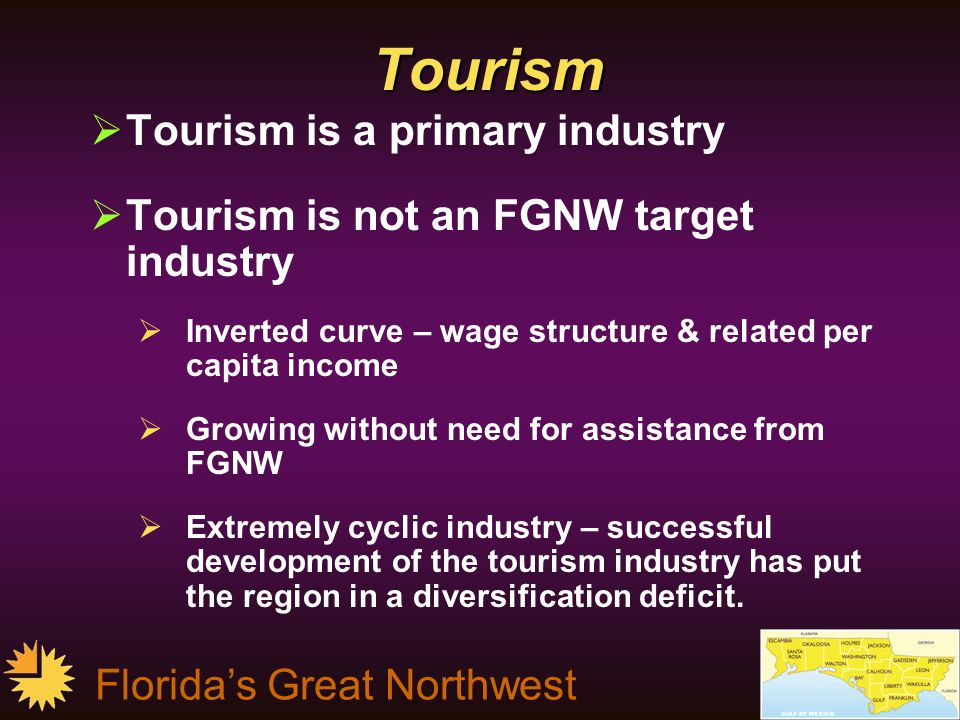 Florida's Great Northwest Tourism  Tourism is a primary industry  Tourism is not an FGNW target industry  Inverted curve – wage structure & related per capita income  Growing without need for assistance from FGNW  Extremely cyclic industry – successful development of the tourism industry has put the region in a diversification deficit.