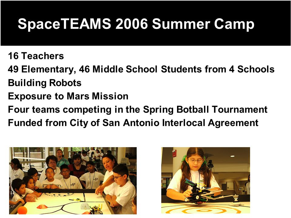 SpaceTEAMS 2006 Summer Camp 16 Teachers 49 Elementary, 46 Middle School Students from 4 Schools Building Robots Exposure to Mars Mission Four teams competing in the Spring Botball Tournament Funded from City of San Antonio Interlocal Agreement