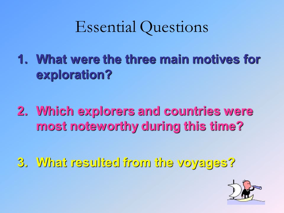 Essential Questions 1.What were the three main motives for exploration? 2.Which explorers and countries were most noteworthy during this time? 3.What