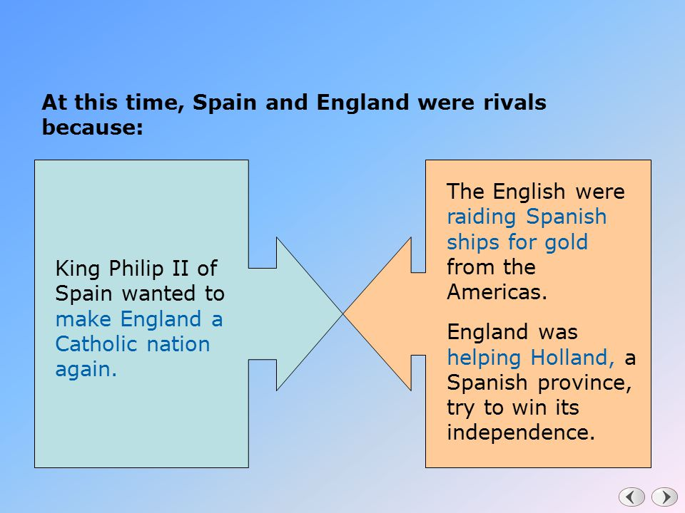 At this time, Spain and England were rivals because: King Philip II of Spain wanted to make England a Catholic nation again. The English were raiding