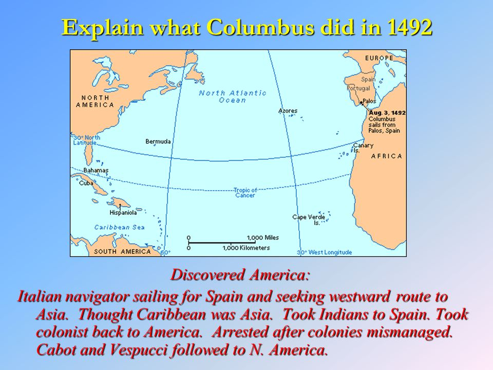 Explain what Columbus did in 1492 Discovered America: Italian navigator sailing for Spain and seeking westward route to Asia. Thought Caribbean was As
