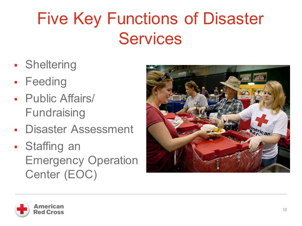 Five Key Functions of Disaster Services  Sheltering  Feeding  Public Affairs/ Fundraising  Disaster Assessment  Staffing an Emergency Operation C