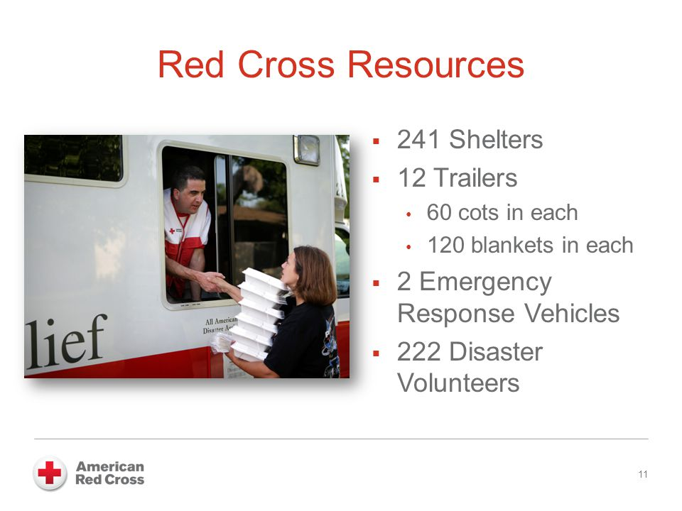 Red Cross Resources  241 Shelters  12 Trailers 60 cots in each 120 blankets in each  2 Emergency Response Vehicles  222 Disaster Volunteers 11